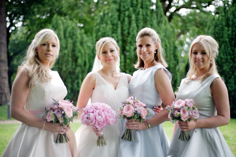 The beautiful bride and her lovely maids.