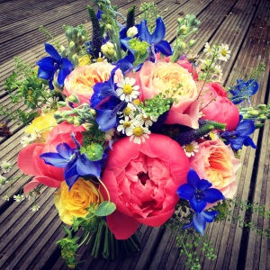 A gorgeous bright bridal bouquet