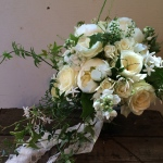 Jasmine and peony filled bridal flowers.