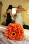 Our first official bridal bouquet - spider gerberas!